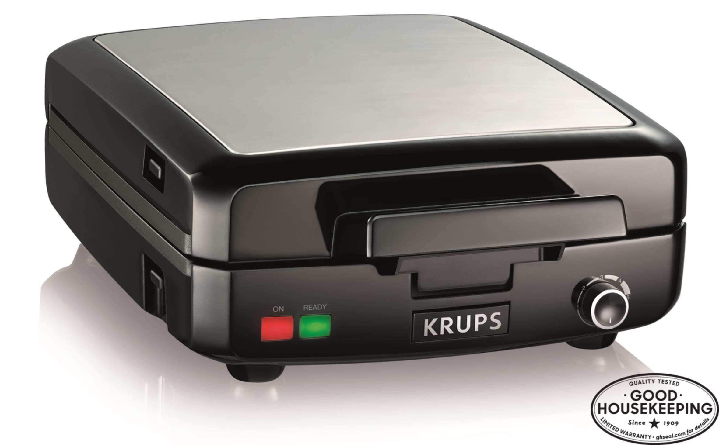 KRUPS Belgian Waffle Maker, Waffle Maker with Removable Plates, 4 Slices, Black and Silver by KRUPS