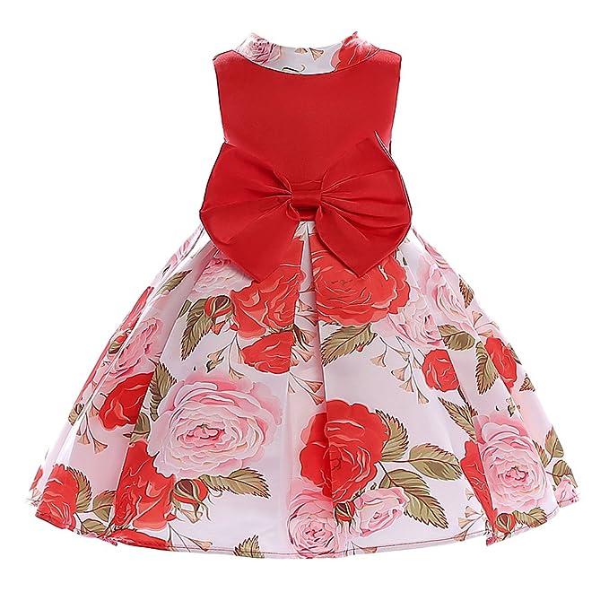 Homyl Vestido Formal Encantador Impreso Lindo Dulce Estilo Vintage Princesa Niña Decoración Prendas de Vestir -