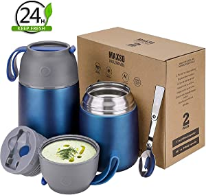 2 Pack Vacuum Insulated Food Jar Hot Food Containers for Lunch School Soup Thermos For Kids,Travel Food Flask Hot Cold (24oz,17oz) (Dark Blue)