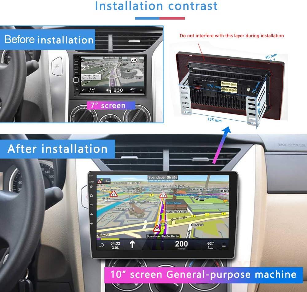 Autoradio Android 2G+32G /Écran Tactile de 10 Pouces Lecteur St/ér/éo GPS CAMECHO 2 din Bluetooth WiFi Sat Navi FM Lien de Miroir de T/él/éphone Portable Double Vid/éo de Voiture USB