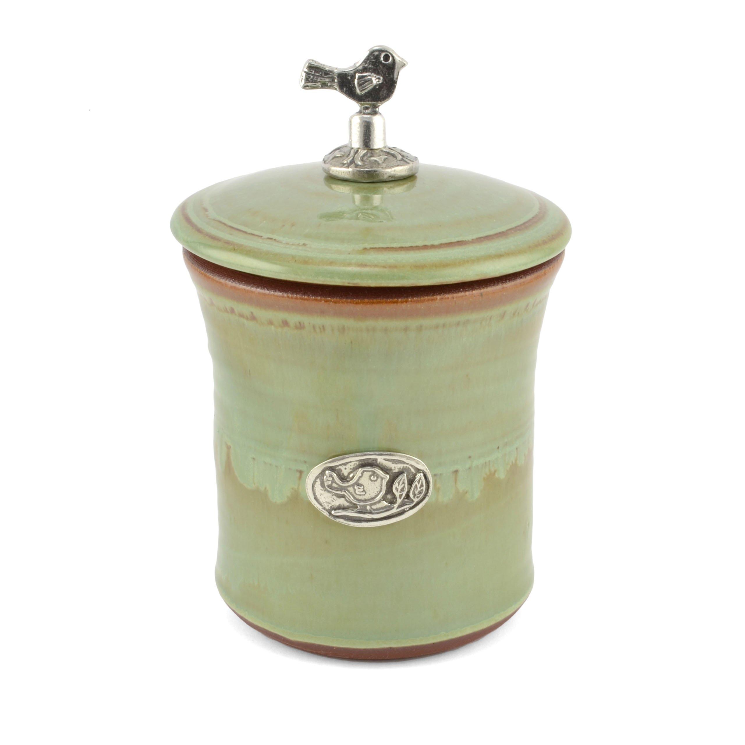 Oregon Stoneware Studio Bird Garlic Pot with Pewter Finial, Pistachio by Oregon Stoneware Studio