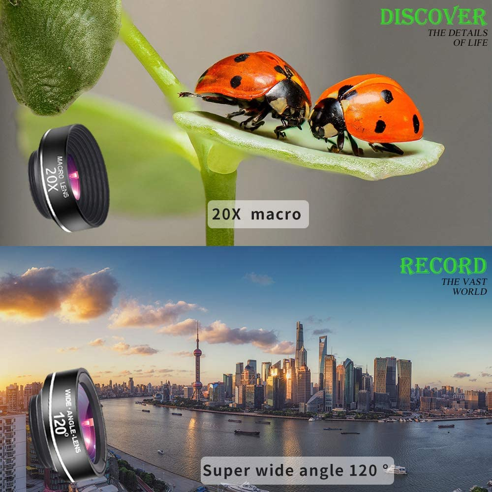 Compatible with iPhone 8 7 6 6s Plus X XS XR Samsung Phone Camera Lens Phone Lens Kit 7 in 1 Screwed Together 6K HD 110/° Wide Angle Lens /& 25X HD Macro Lens Odder-spot 25X Telephoto Lens