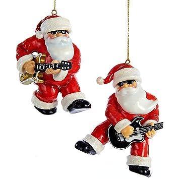 Amazon.com: Kurt S. Adler Rock & Roll Santa Ornament 2/Assorted ...
