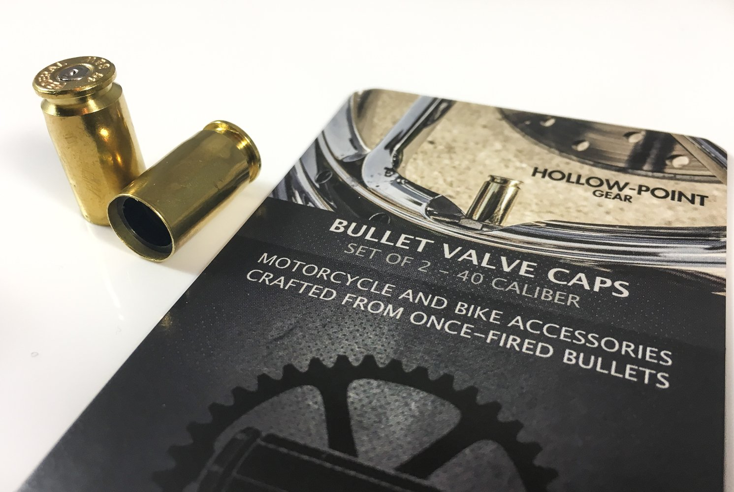 Set of 2 in Brass//Gold Hollow-Point Gear Bullet Bicycle Tire Valve Caps Authentic .40 Caliber Bullet Tire Caps for Bicycles and Motorcycles