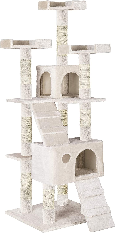 TecTake Rascador Árbol para Gatos 169 cm de Altura (Blanco | No. 402194)