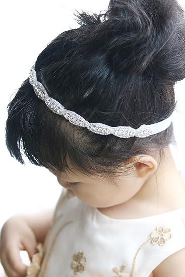 Amazon.com : Missgrace Crystal Flower Girl headband Wedding Hair ...