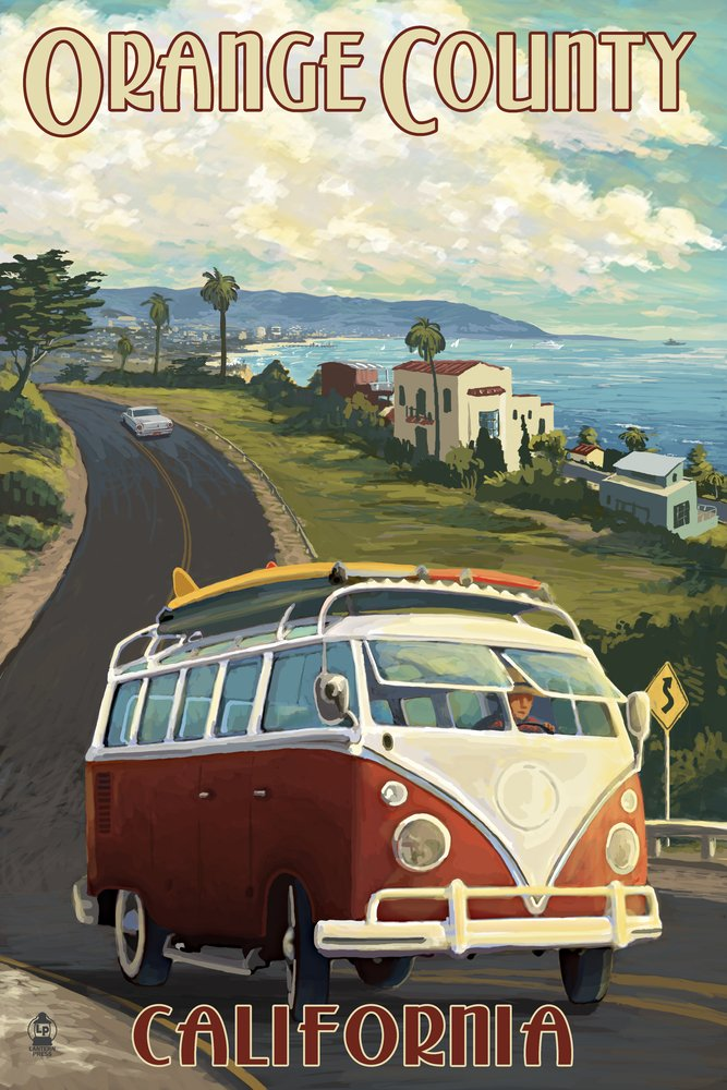 カリフォルニア州オレンジ郡 – VW Vanクルーズ 16 x 24 Giclee Print LANT-43352-16x24 B00N5CDGYC 16 x 24 Giclee Print16 x 24 Giclee Print