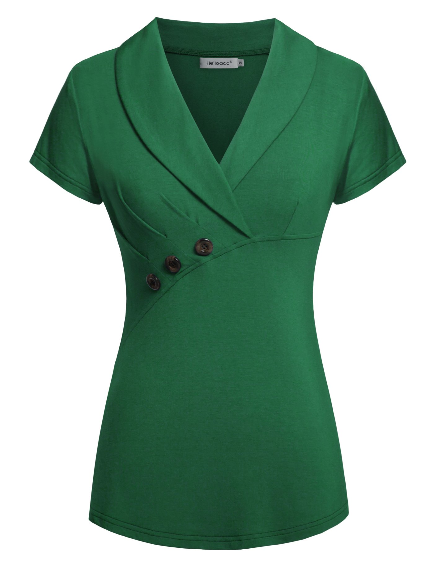 Helloacc Work Blouse Short Sleeve, Women Tunic V Neck Elegant Shirts Summer Button Trim Solid Color Basic Office T Shirt Tops Green L