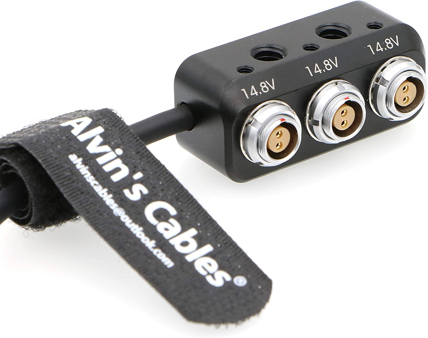 Alvins Cables 1 to 3 Mini Power Splitter Box Cable 2 Pin Male to 3 2 Pin Female Box for ARRI RED Cameras Teradek