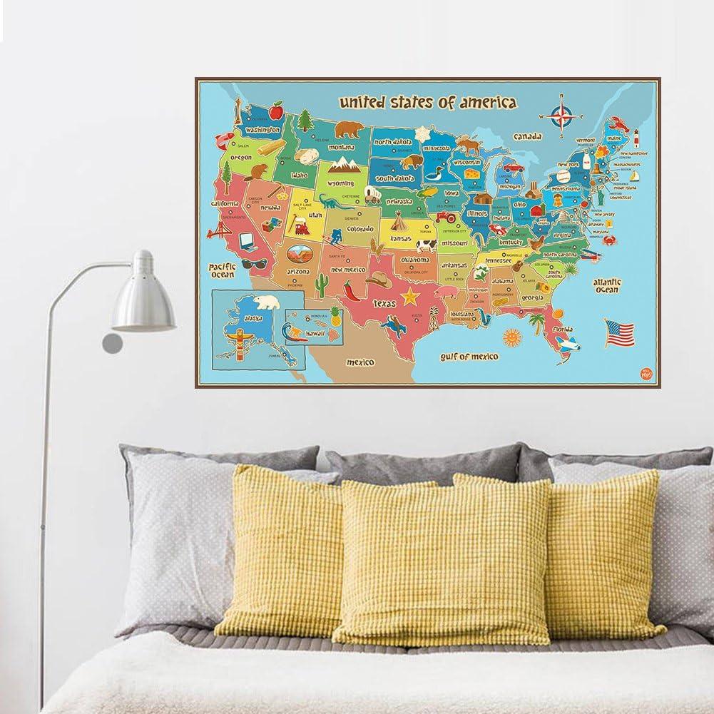 Rainbow Fox Unido Estados Mapa Pegatinas de pared Desmontable Vinilo Calcomanías: Amazon.es: Hogar