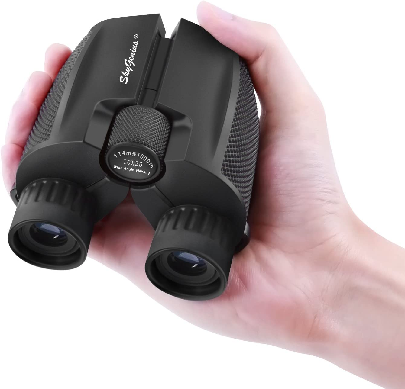 SkyGenius 10x25 Compact Binoculars for Bird Watching, High Powered Binoculars Pocket Size for Theater, Concerts, Travel, BAK4 Roof Prism FMC Lens Binoculars for Adults Kids