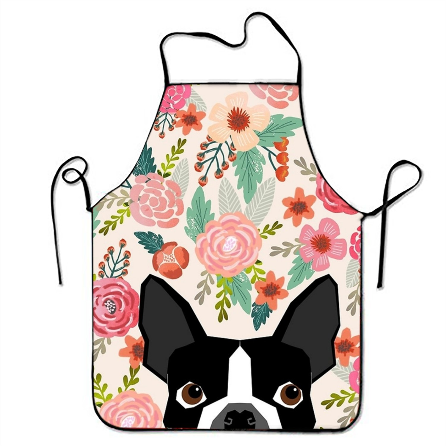 aportt Unisex Waterproof Aprons Boston Terrier Dog Florals Kitchen Apron with Adjustable Strap for Cooking Gardening