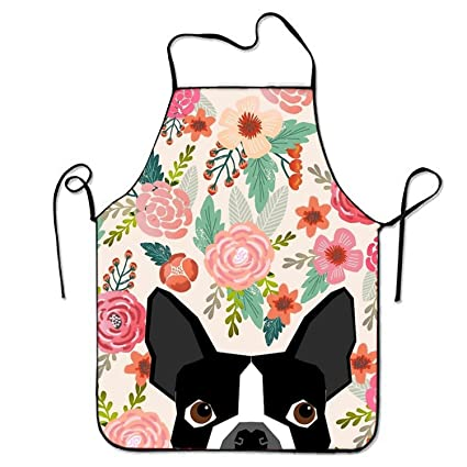 20ab8bf0c551 aportt Unisex Waterproof Aprons Boston Terrier Dog Florals Kitchen Apron  with Adjustable Strap for Cooking Gardening