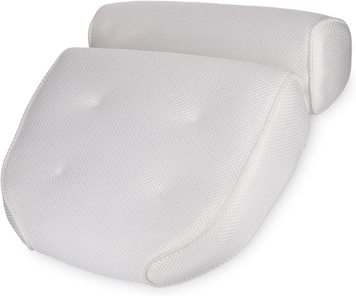 Navaris Almohada para bañera - Cojín con ventosas - Almohada de Malla Oeko-Tex Standard 100 para Cabeza Cuello - Cojín Antideslizante Blanco