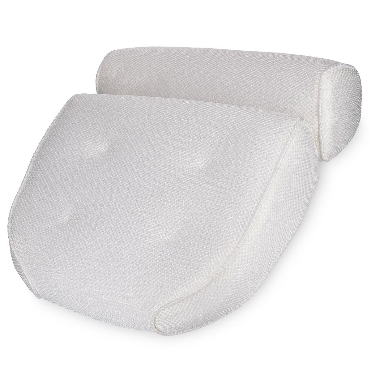 Navaris Cuscino Vasca da Bagno Extra-Comfort - Poggiatesta Air Mesh con Ventose - Relax per Schiena Spalle Collo - Oeko-Tex Standard 100 - Bianco KW-Commerce 41634_m000612