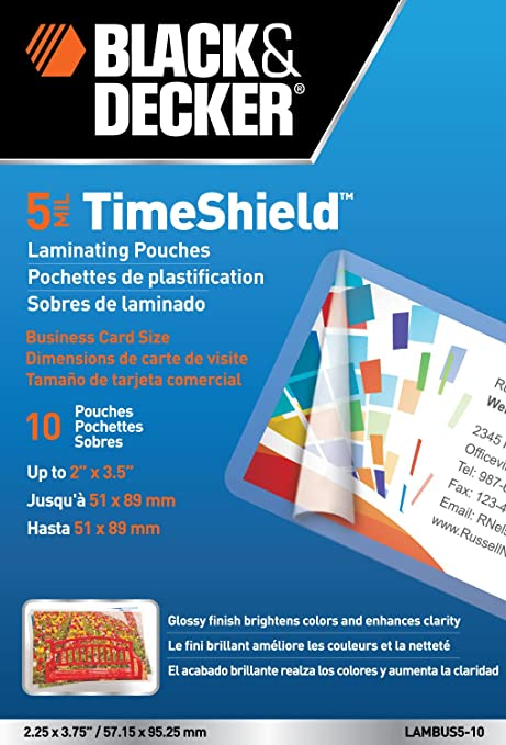 Amazon BLACK DECKER TimeShield Thermal Laminating Pouches Business Card 5 Mil