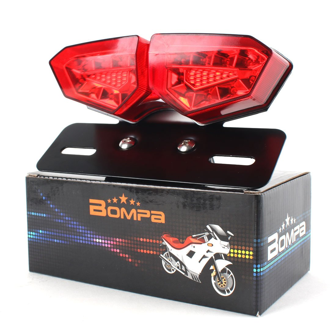 BOMPA Integrated LED Tail Brake Stop Turn Signal Light Smoke Lens with Red & Amber Light License Plate Bracket fit Most Motorcycles and Bikes by Bompa