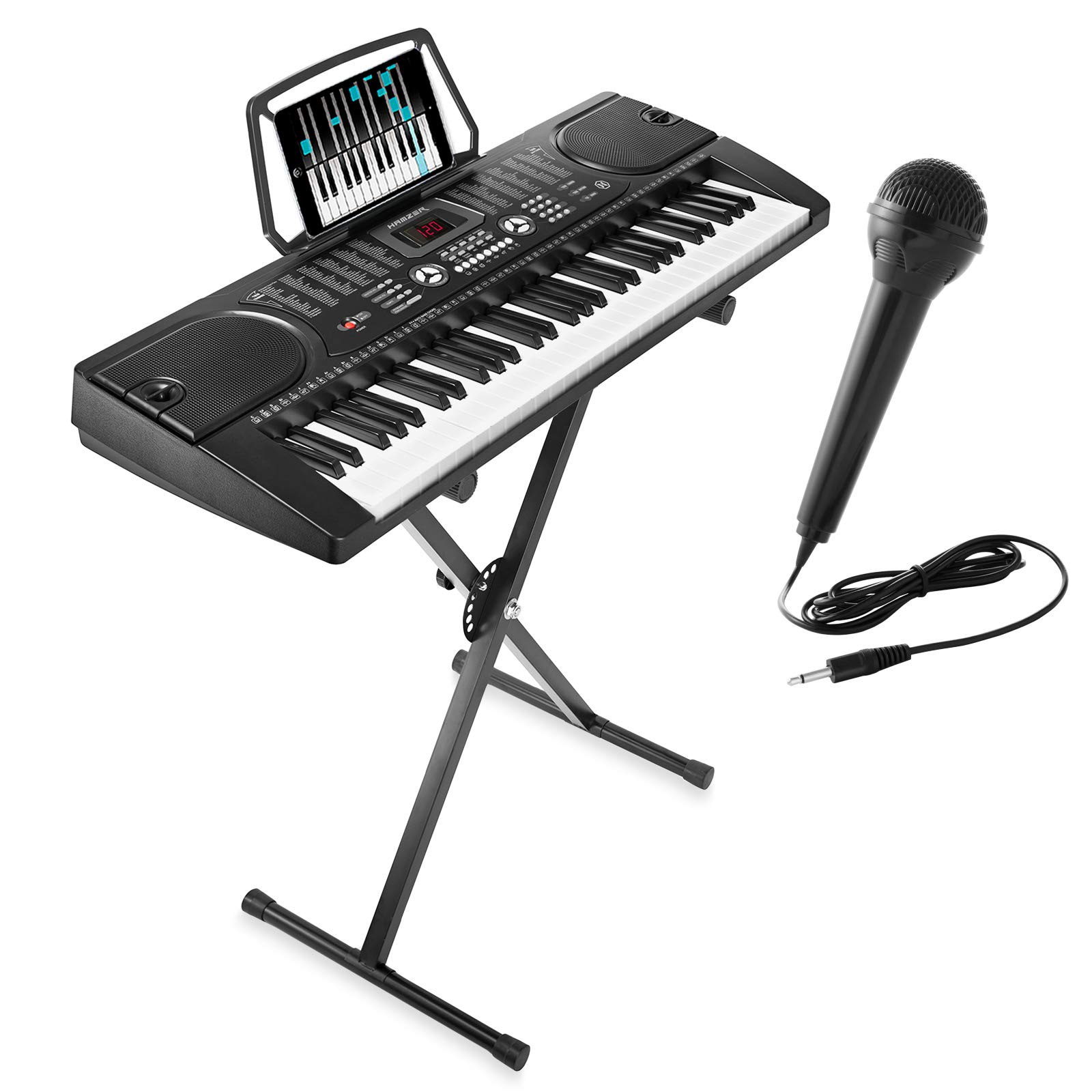 Hamzer 61-Key Electronic Piano Electric Organ Music Keyboard with Stand, Microphone, & Sticker Sheet - Black by Hamzer