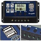 BougeRV 30A Solar Charge Controller Solar Panel Battery Regulator 12V/24V with USB Port Display [ Updated Version ]