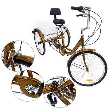 triciclo para adultos 6speed 24 3 Cilindro de personas mayores Shopping bicicleta con cesta Rojo: Amazon.es: Deportes y aire libre