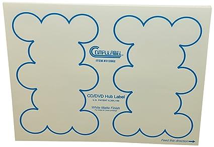 compulabel Hub Blanco CD/DVD etiquetas para impresoras láser ...
