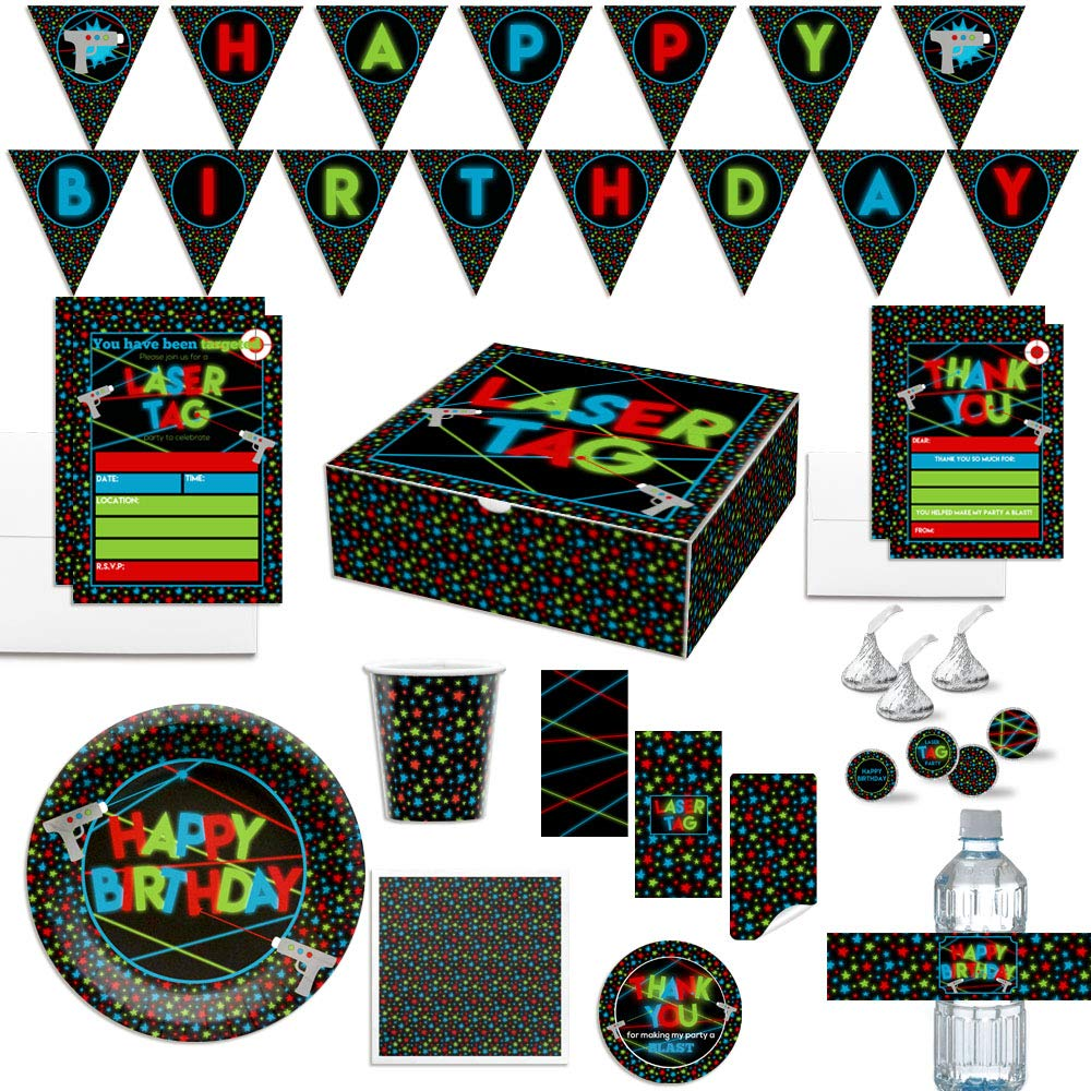 Premium Laser Tag Birthday Party in a Box for Boys, Complete Party Decoration Set for 10 Guests. Includes Invitations, Thank You Cards, Stickers and More. Over 350 Pieces by AmandaCreation