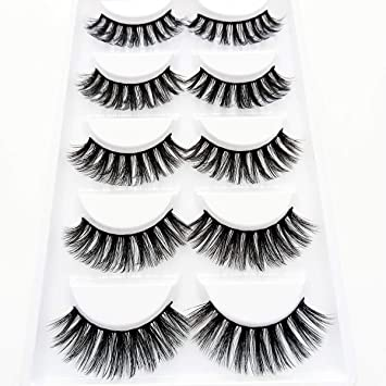 f5c1ec95473 Amazon.com : 3D Wispies False Eyelashes Dramatic Lashes Bulk Extensions  With Volume for Girl/Men Makeup Handmade Soft Eyelash, 5PACK : Beauty