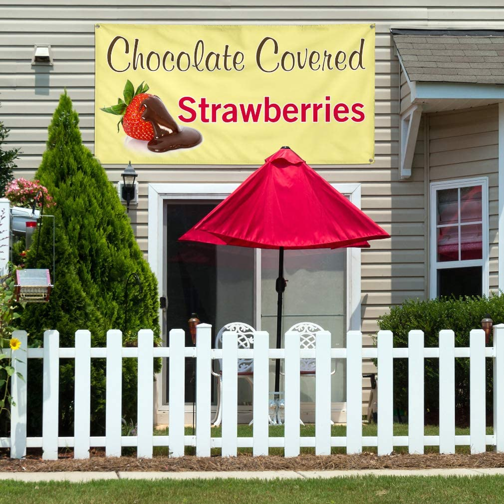 Vinyl Banner Multiple Sizes Chocolate Covered Advertising Printing Business Outdoor Weatherproof Industrial Yard Signs Golden 10 Grommets 60x144Inches