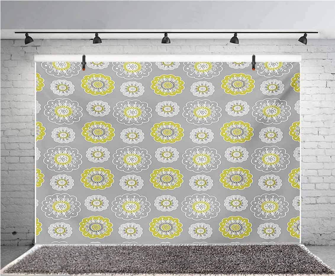 Grey and Yellow 12x10 FT Vinyl Photography Backdrop,Pale Grey Backdrop with Inspired Flowers Ivy Image Background for Baby Birthday Party Wedding Studio Props Photography
