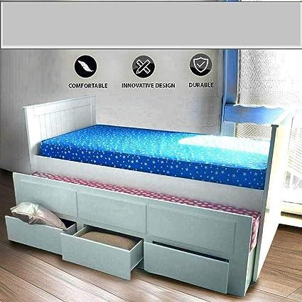 Cama individual de madera maciza de 91 cm para cama de invitados en color blanco puro y 3 cajones debajo de la cama con somier de láminas.