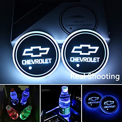 Noveltys 2pcs Chevy Cup Holders,LED Car Cup Holder Lights for Chevrolet,Camaro Silverado Malibu Accessories: Automotive