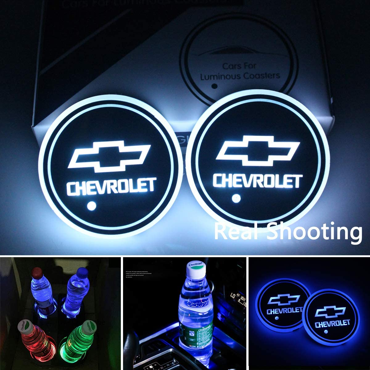 Noveltys 2pcs Chevy Cup Holders,LED Car Cup Holder Lights for Chevrolet,Camaro Silverado/Malibu/Accessories