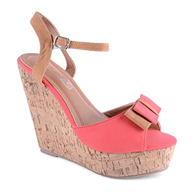 ee0a06ae5ce1 New Ladies High Cork Platform Bow Summer Wedges Sandals Heels   Amazon.co.uk  Shoes   Bags