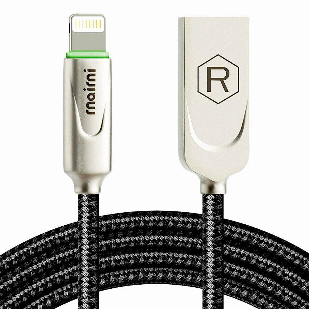 rnairni iPhone USB Charger Smart LED Auto Disconnect Charge Cable - 6FT/1.8M Length Nylon Braided Charge Compatible iPhone X iPhone 8 7/7 Plus 6/6 ...