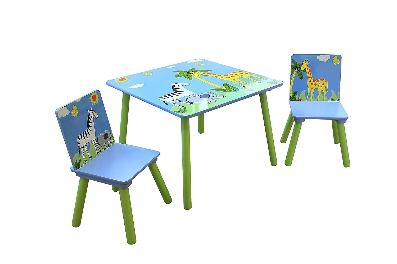 Liberty House Toys–Set Tavolo e due sedie Safari, legno TF5001