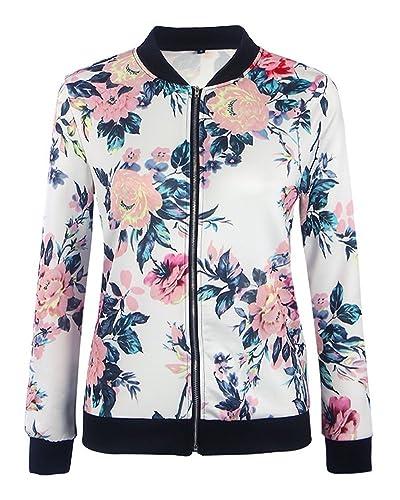 Mujer Chaqueta Larga Impresión Floral Manga Larga Casual Outwear Negro XL