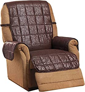 Carol Wright Gifts Faux Leather Recliner Cover, Color Brown, Brown