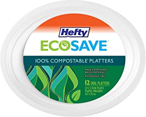 Hefty Ecosave Paper Oval Platter 100% Compostable, White, 12 Count