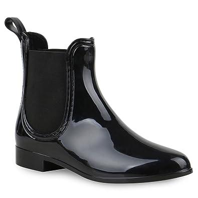 a152cb96beace7 Damen Stiefeletten Chelsea Boots Gummistiefeletten Lack Gummistiefel Regen  Schuhe 121284 Schwarz Schwarz 35 Flandell