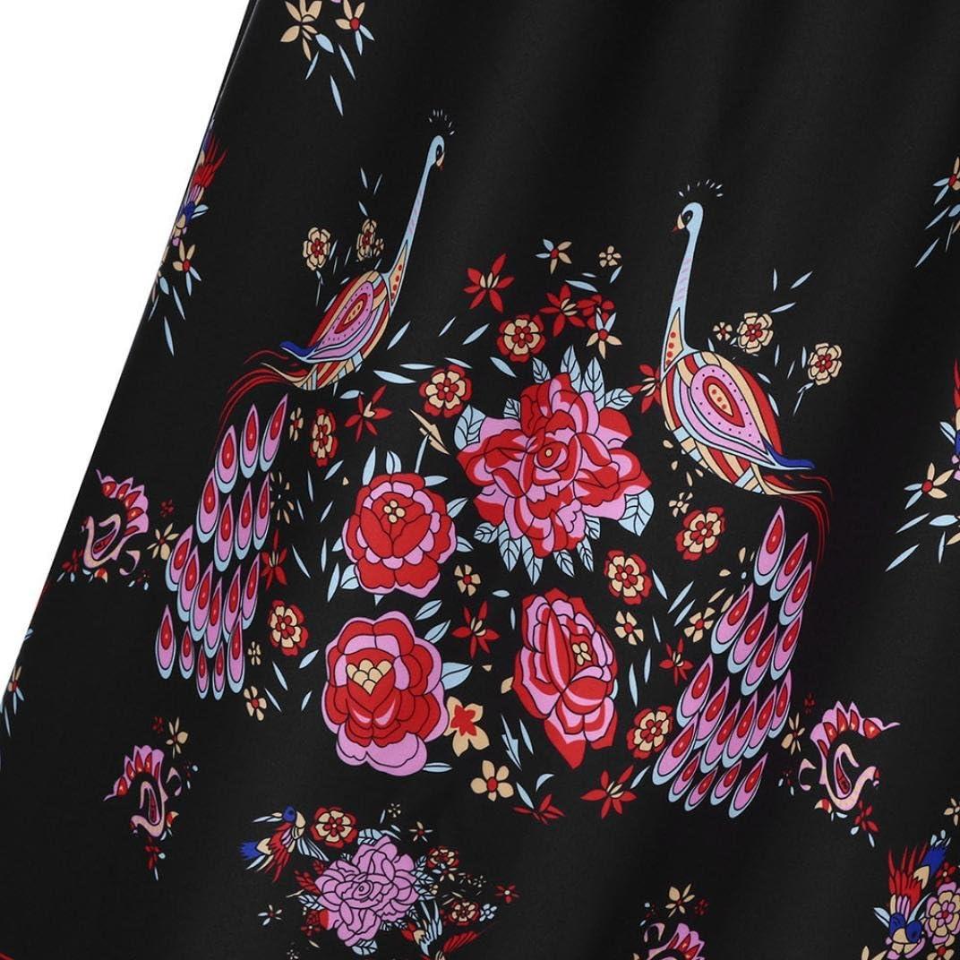 Elogoog Womens Vintage Fold Over High Waist Floral Print Beach Boho Maxi Long Skirts