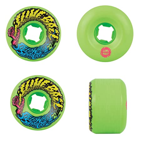 Santa Cruz Slime Balls Vomit Mini 97a Skateboard Wheels,Neon Green,56mm