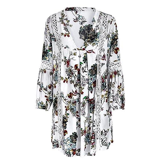 Kleid Kurz Damen Sommerkleid V Ausschnitt Drucken Minikleid Spitze  Strandkleider HäKel Kleider Elegant Locker (Weiß, M)  Amazon.de  Bekleidung baf919ef8f