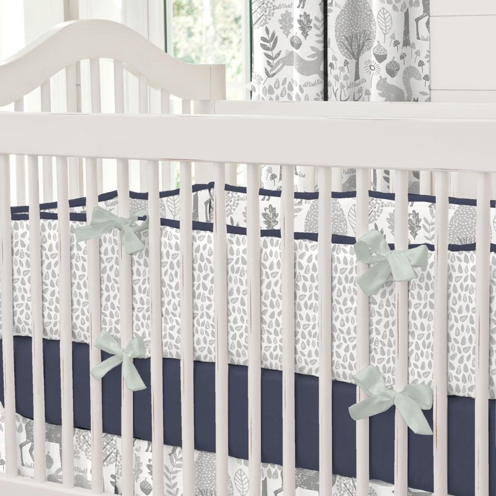 Carousel Designs Navy and Gray Woodland Crib Bumper