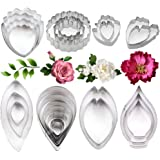 26Pcs Stainless Steel Gum Paste Flower and Leaf Cutter Set Fondant Flower Cookie Cutter Sugarcraft Flower Making Tool for Wed