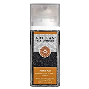 SaltWorks Hiwa Kai Black Hawaiian-Style Artisan Grinder Jar, Sea Salt, 5.5 Oz