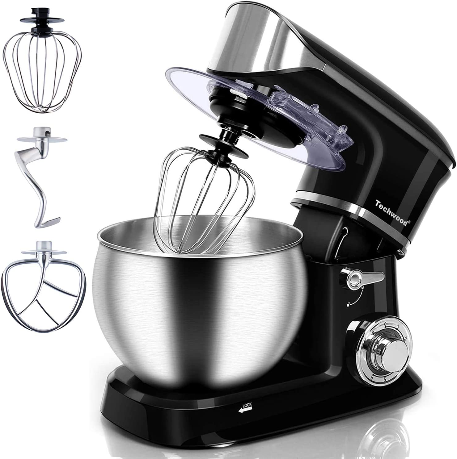 Stand Mixer, Techwood Electric Food Mixer, 6QT 800W 6-Speed Tilt-Head Kitchen Dough Mixer with Stainless Steel Bowl, Dough Hook, Wire Whip and Beater