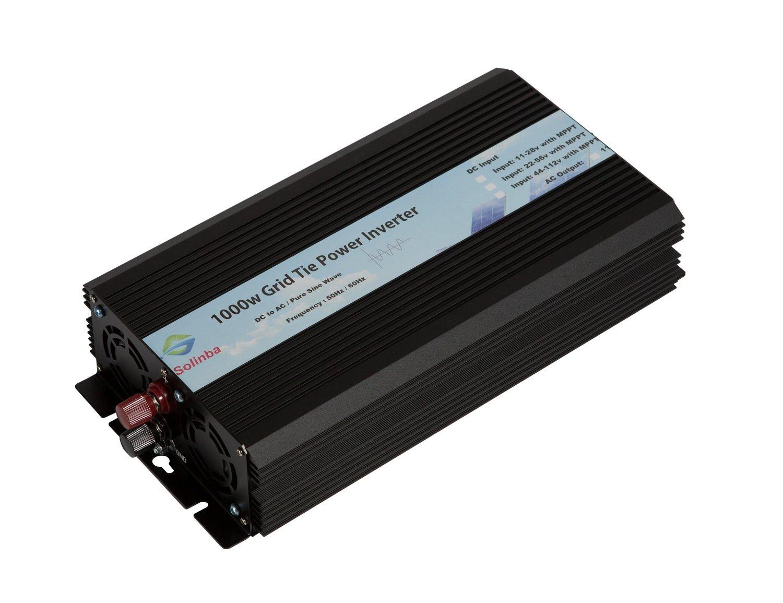 Solinba on Grid Tie Solar Inverter 1000w DC11-28v to AC90-130v for 12v Solar System USA plug