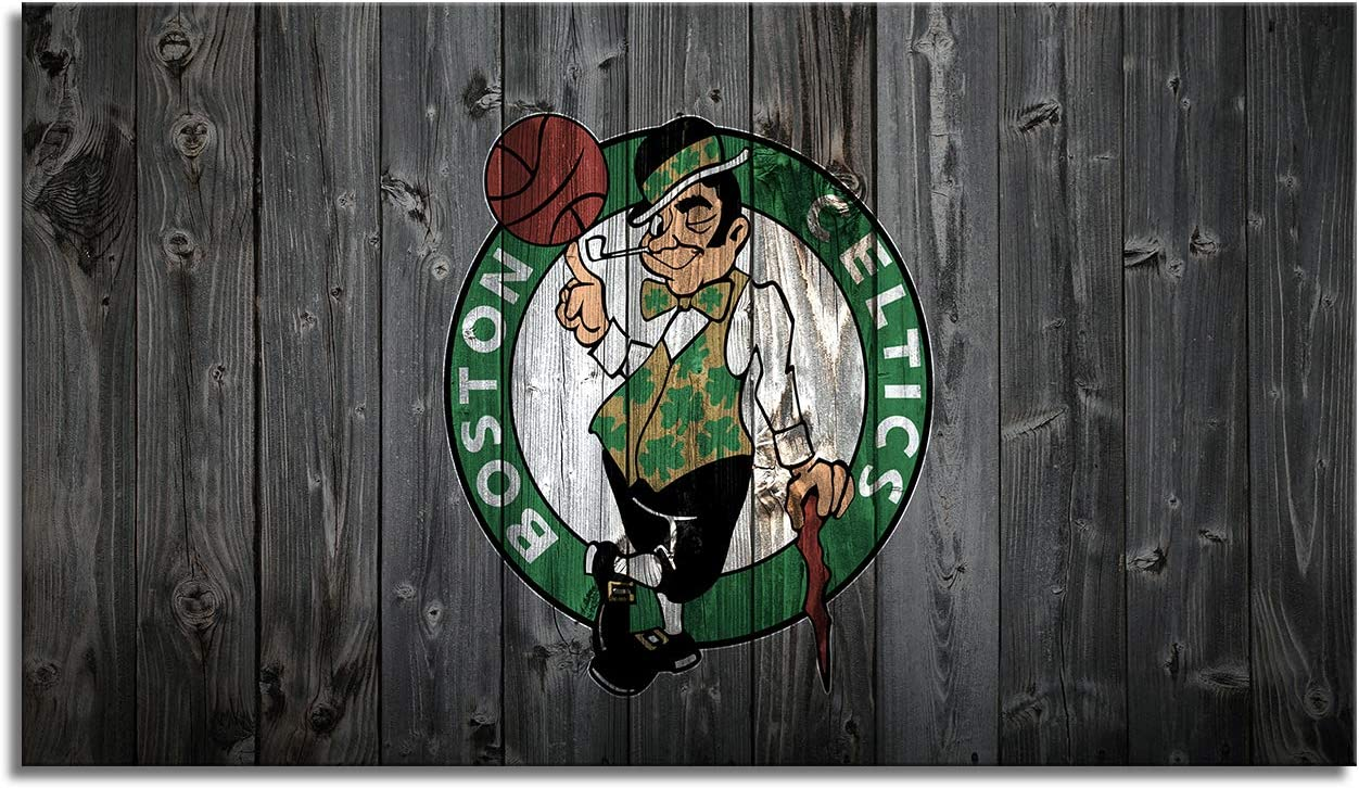 MIAUEN Boston Celtics Wall Decor Canvas Art Framed Prints Pictures Sports NBA Basketball Poster Small Decoration Home Living Room Bedroom Game Room Paintings Ready to Hang(28''Wx 16''H)