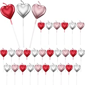 Metallic Heart Candles Cake Candles Cupcake Topper Candles Dessert Candle Holders for Birthday, Wedding, Valentine's Day, Anniversary, Party Decoration (30, Red, Silver, Pink)