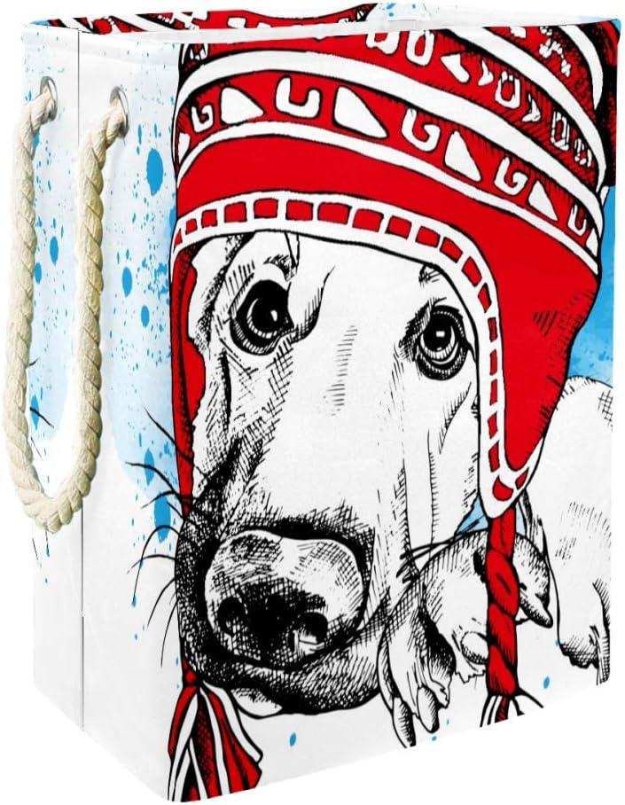 DEYYA Red Winter Hat German Shepherd Dog Collapsible Laundry Hampers Large Laundry Baskets Storage Bin for Bathroom Bedroom Organization